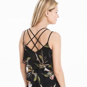 WHBM Floral Strappy Ruffle Tank